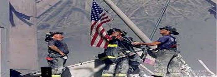 Raising 9-11 USA Flag